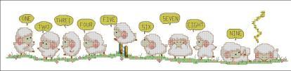 INFNUM-1: Gráfico de punto de cruz para descargar en PDF, imprimir y bordar dibujo infantil con conteo de ovejas para dormir