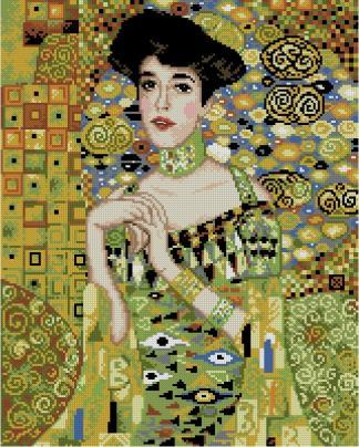 """KLIMT-ADELE: Gráfico de punto de cruz para descargar en PDF, imprimir y bordar dibujo basado en el cuadro de Gustav Klimt """"Retrato de Adele Bloch-Bauer"""""""