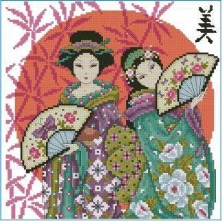 PERJAPON-1: Gráfico de punto de cruz para descargar en PDF, imprimir y bordar dibujo con mujeres japonesas