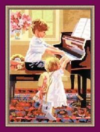 PIANO-6905: Tela panamá con dibujo infantil impreso de niños tocando el piano, para bordar a punto de cruz
