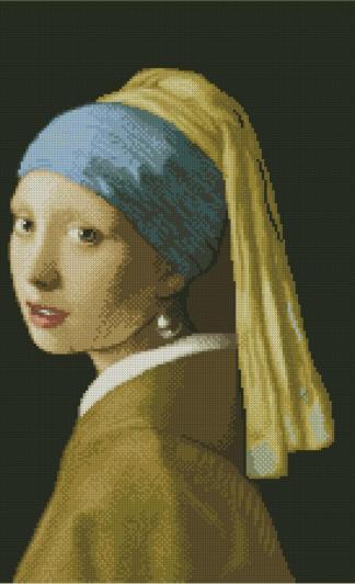 """VERMEER-1: Gráfico de punto de cruz para descargar en PDF, imprimir y bordar dibujo basado en el cuadro de Vermeer """"La joven de la perla"""""""