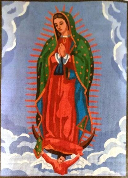 VIRGEN-GUADALUPE: Tela panamá con dibujo impreso de la Virgen de Guadalupe, para bordar a punto de cruz