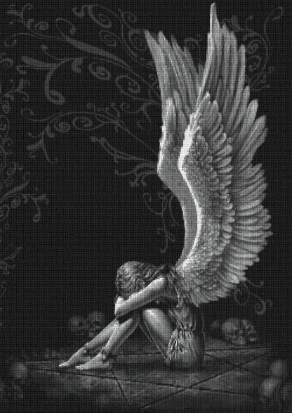 ANGMOR: Gráfico de punto de cruz para descargar en PDF, imprimir y bordar ángel de la muerte