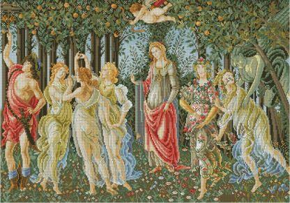 """BOTTICELLI-1: Gráfico de punto de cruz para descargar en PDF, imprimir y bordar dibujo basado en la pintura de Botticelli """"La primavera"""""""