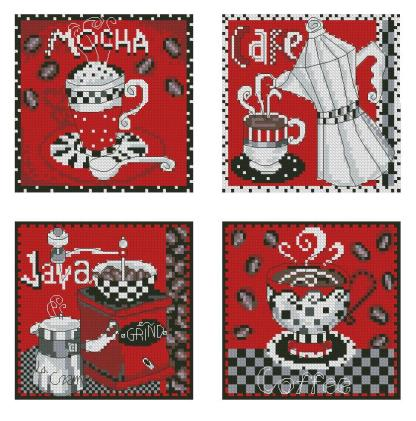COFFEE-3: Gráfico de punto de cruz para descargar en PDF, imprimir y bordar dibujo con cafeteras, molinillo y tazas de café
