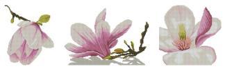 FLORES-3: Gráfico de punto de cruz para descargar en PDF, imprimir y bordar tríptico con dibujos de flor de almendro