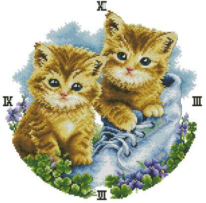 KITTENS-1: Gráfico de punto de cruz para descargar en PDF, imprimir y bordar reloj de pared con dibujo de gatitos