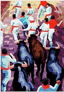 SANFERMINES: Tela panamá con dibujo impreso de encierro de toros en los Sanfermines de Pamplona, para bordar a punto de cruz