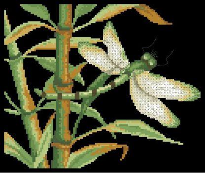 DRAGONFLY-1: bordado a punto de cruz de dibujo con libélula entre bambú
