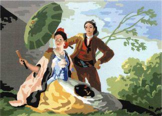 """QUITASOL-PP: Cañamazo con dibujo impreso basado en el cuadro de Goya """"El Quitasol"""", para bordar en petit point ó medio punto"""