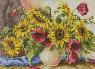 SUNFLOWERS-3: Gráfico de punto de cruz para descargar en PDF, imprimir y bordar jarrón de flores con girasoles y amapolas