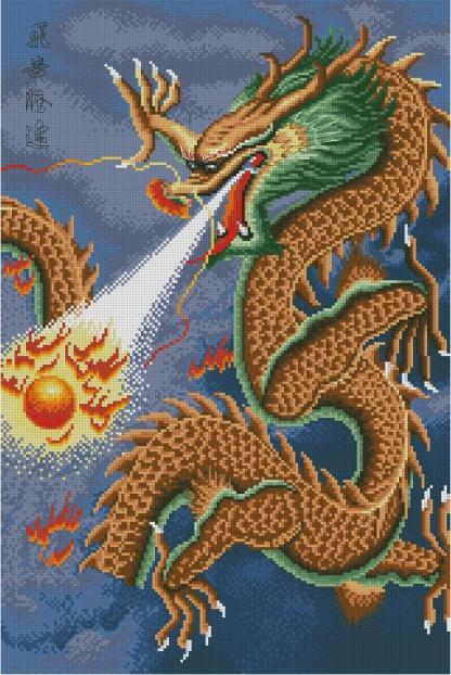 FANDRAC-1: bordado a punto de cruz de dragón chino dorado
