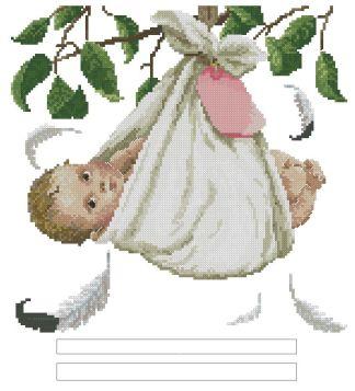 NATALICIO-5: Gráfico de punto de cruz para descargar en PDF, imprimir y bordar recuerdo de nacimiento o natalicio
