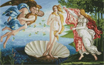"""BOTTICELLI-2: Gráfico de punto de cruz para descargar en PDF, imprimir y bordar dibujo basado en la pintura de Botticelli """"El nacimiento de Venus"""""""