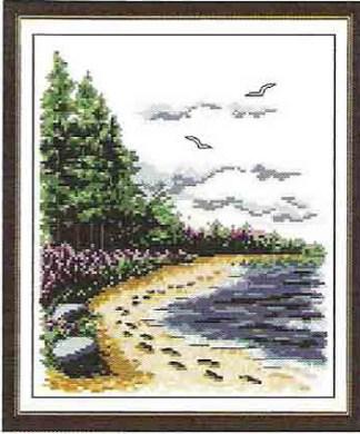 F-134: kit de punto de cruz para bordar paisaje con árboles junto a la playa