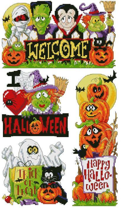HALLOWEEN-1: bordado a punto de cruz de dibujo relacionado con la fiesta de Halloween