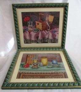 Venta de bordados a punto de cruz con dibujo de costurero y otros útiles de costura