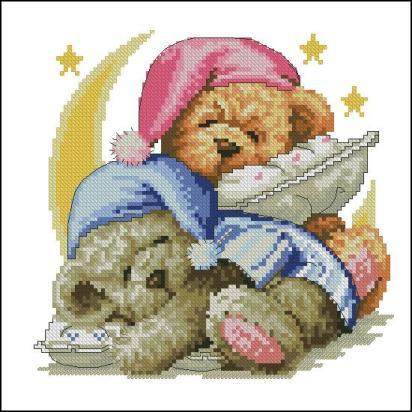BBTEDDY-1: bordado a punto de cruz de dibujo infantil con ositos de peluche