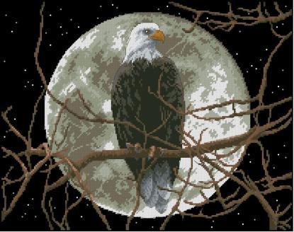 EAGLE-1: bordado a punto de cruz de águila en noche de luna llena