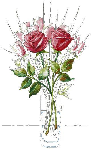 ROSES-5: bordado a punto de cruz de ramillete de rosas