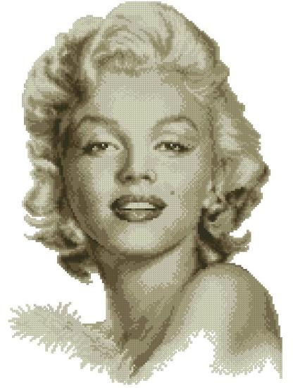 MARILYN-1: bordado a punto de cruz de Marilyn Monroe
