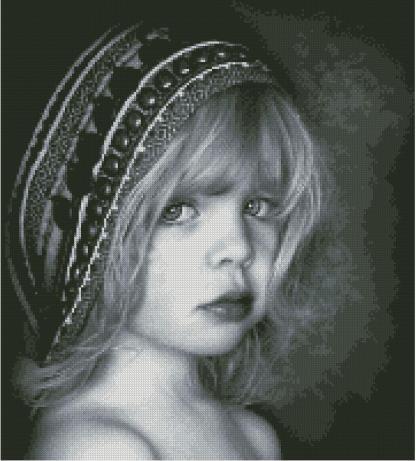 PERNINA-1: bordado a punto de cruz de niña con tocado en el pelo