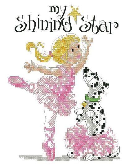 BALLERINA-5: bordado a punto de cruz de niña y perro vestidos de bailarina