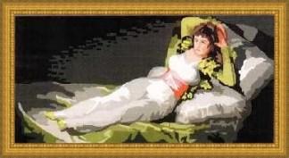 MAJA-VESTIDA-PP: Cañamazo con dibujo impreso de la Maja vestida de Goya, para bordar en petit point