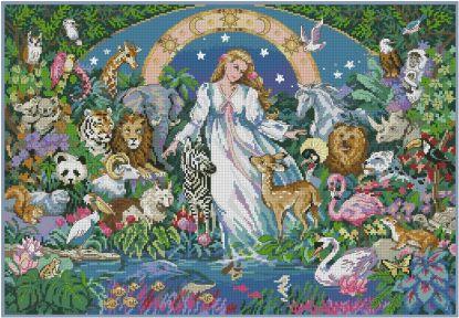 ANINATURA: bordado a punto de cruz de mujer y animales