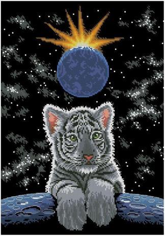 ANITIG-6: bordado a punto de cruz de tigre en noche de luna llena