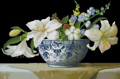 FLVASE-8: bordado a punto de cruz de cuenco con flores blancas