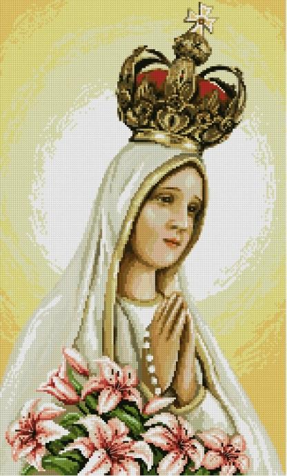 RELIFAT-3: Grafico de punto de cruz para descargar en PDF, imprimir y bordar Virgen de Fátima