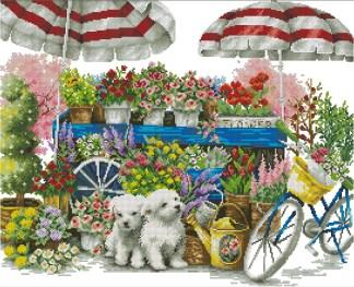 PETS-2: bordado a punto de cruz de perritos, bicicleta y flores