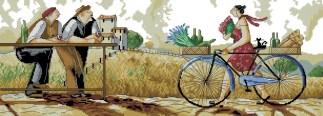 RONALD-1: bordado a punto de cruz de hombres y mujer en bicicleta