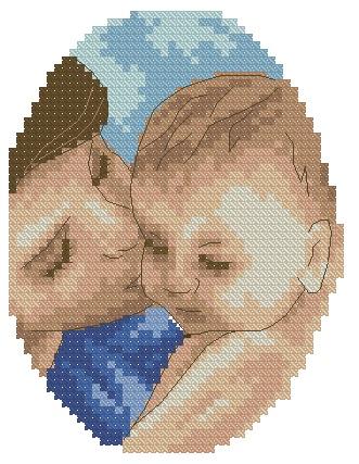 BBMOM-4: bordado a punto de cruz de madre con bebé (niño)