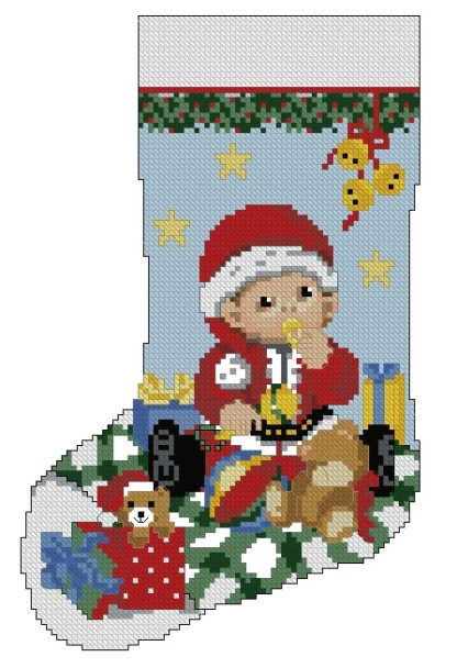 BBSOCK: bordado a punto de cruz de calcetín de Navidad para bebé