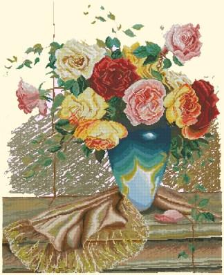 FLVASE-10: bordado a punto de cruz de jarrón con flores