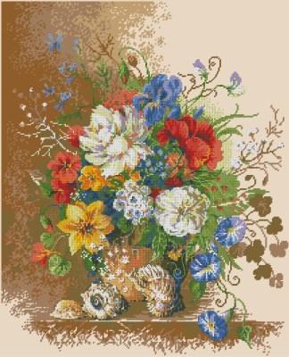 FLVASE-9: bordado a punto de cruz de jarrón con flores y caracolas