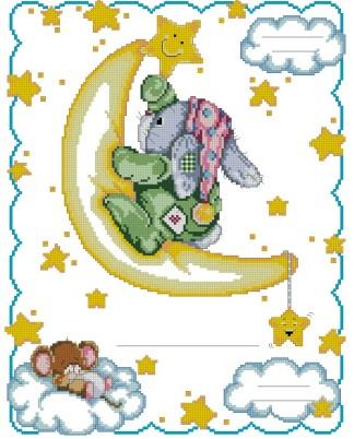 NATALICIO-6: bordado a punto de cruz de recuerdo de nacimiento o natalicio para bebé