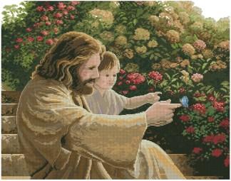 RELIGREG-1: bordado a punto de cruz de dibujo con Jesús Cristo y niño