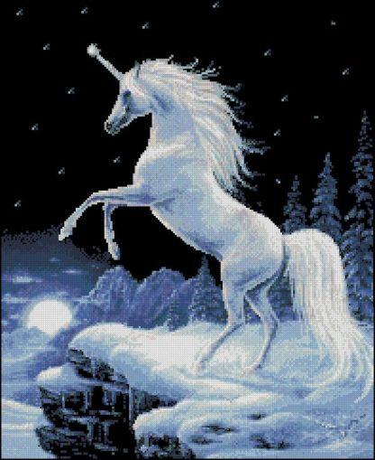 UNICORN-3: bordado a punto de cruz de unicornio en paraje nevado
