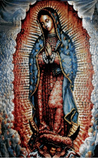 VGUADALUPE: bordado a punto de cruz de la Virgen de Guadalupe