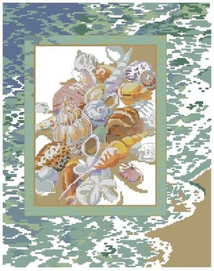 CARACOLAS-1: bordado a punto de cruz de caracolas o conchas de mar en la playa