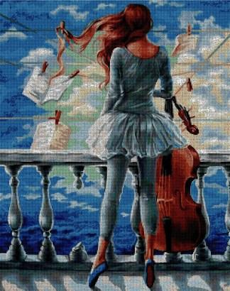 PERART: bordado a punto de cruz de bailarina con violonchelo