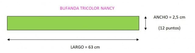 mis nancys, mis peques y yo, tutorial bufanda tricolor nancy patron gratis 1