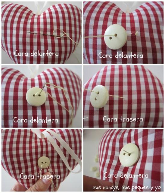 mis nancys, mis peques y yo, tutorial DIY adornos Navidad, proceso coser botones