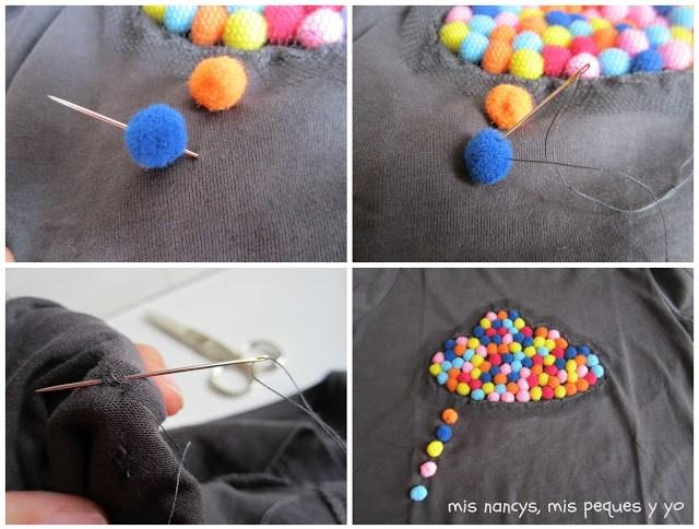 mis nancys, mis peques y yo, tutorial aplique camiseta con pompones, coser gotas lluvia