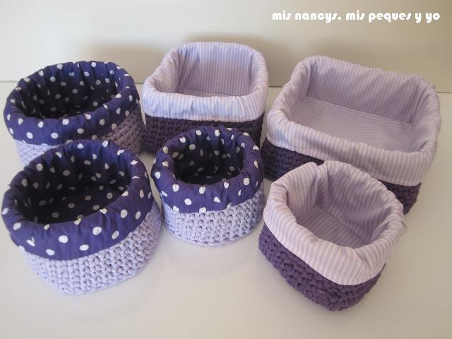 mis nancys, mis peques y yo, tutorial DIY funda cestas, juego de tres cestas de trapillo redondas y cuadradas