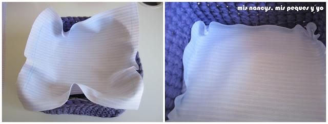 mis nancys, mis peques y yo, tutorial DIY funda cestas, introducir tela base en la cesta