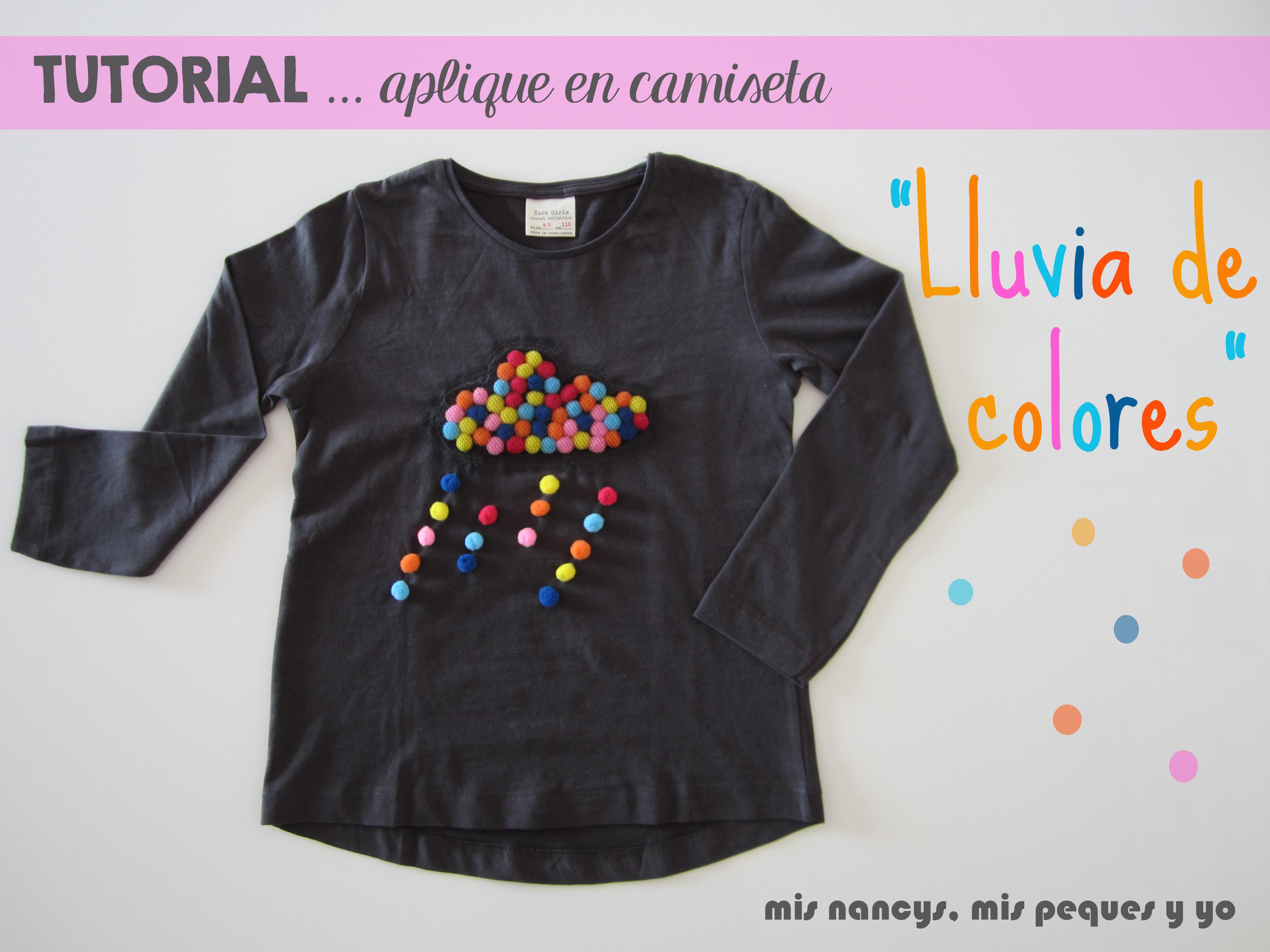 """Tutorial Aplique en camiseta… """"Lluvia de colores"""""""